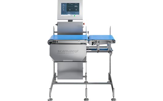 Scanvaegt SC510 HD Chechweigher performing dynamic checkweighing of large and heavy items such as whole roasts and cuts.