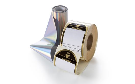 Scanvaegt Cold Foil Labels with print with gold, silver and metallic colours