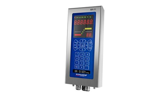 Scanvaegt SV11 is a robust and efficient weight indicator for automatic weighing of boxes