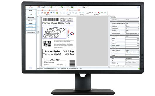 The Scanvaegt PlusFlex Label Designer is a user-friendly system for managing product data and label design.