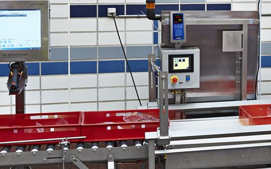 Scanvaegt PlusFlex Box Control System handles a number of jobs in the automatic production lines.